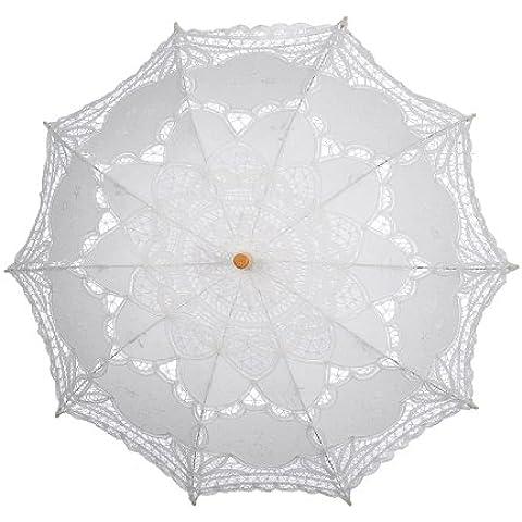 Topwedding Battenburg encaje de algodón bordado novia de la boda Paraguas,