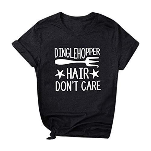 OrchidAmor Damen-T-Shirt mit Buchstaben und kurzen Ärmeln - Schwarz - Groß - Reiten-shirt Coolmax
