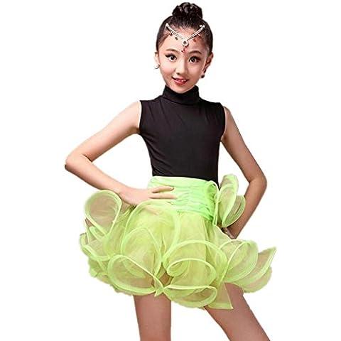 Byjia Organza Flauschige Kinder Latein Tanzkleid . Green . Xxl