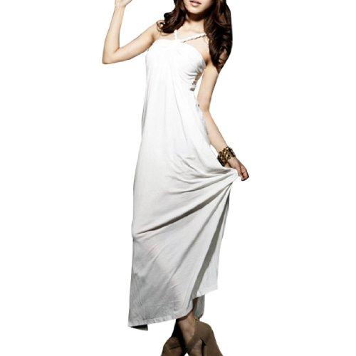 Femme plissé Détails Dos Sans manche Col V Profond Robe Décontractée Blanc XS Blanc