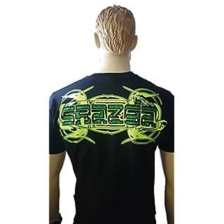 Srazda - Tee-shirt noir - Homme - Manches courtes - logo devant et dessin tribal dans le dos - fluo jaune - velours noir - pailleté vert