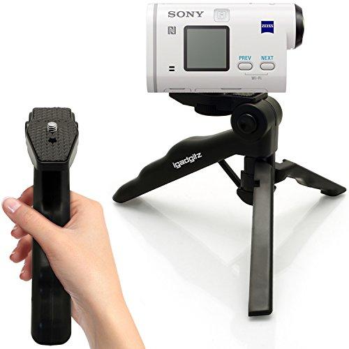 igadgitz 2-in-1 Pistolengriff Stabilisator und Kompaktes Dreibeiniges Mini-Tischstativ für Sony Action Cam AS200V, AS200V, AZ1VR, FDR-X3000, FDR-X3000R, HDR-AS50, X1000V, X1000VR
