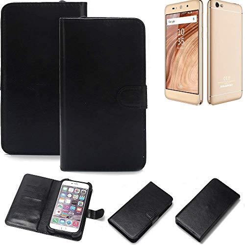 K-S-Trade Wallet Case Handyhülle für Blaupunkt SL02 Schutz Hülle Smartphone Flip Cover Flipstyle Tasche Schutzhülle Flipcover Slim Bumper schwarz, 1x