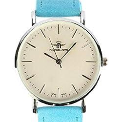 Michael John Damen-Armbanduhr Armband Leder Blau June