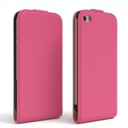 Apple iPhone 4 / 4S, EAZY CASE Premium Flip Case Handyhülle Schutzhülle als Klapphülle, Wallet Cover, Etui, Smartphone Tasche in Rot Pink