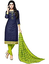 Applecreation Women'S Cotton With Mirror Work Unstitched Salwar Suit (Navy Blue_Free Size)