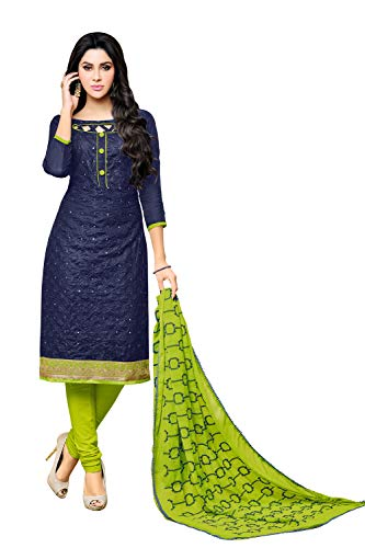 Applecreation Women\'S Cotton With Mirror Work Unstitched Dress Material (Navy Blue_Free Size)