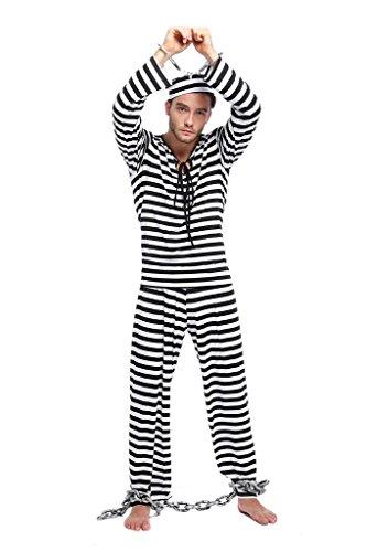 Sträflingskostüm / Gefangenenkostüm Kostüm für Herren Karneval Fasching kostüm mit Hut (Bilder Gefangener Kostüm)