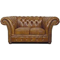 Casa-Padrino Chesterfield sofá Genuino Cuero 2 plazas marrón 170 x 90 x H. 80 cm - Muebles de Salón de Lujo