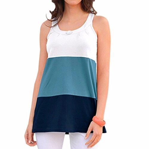 QIYUN.Z Femmes Gilet Plage Ete Epissure T-Shirt Haut De Mode Chemisier Sexy Multi-Couleur Nouvelle Bleu