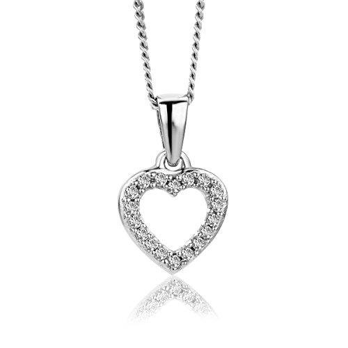 Orovi collana - pendente - ciondolo donna cuore con catena in oro bianco con diamanti taglio brillante ct 0.05 oro 9 kt/375 catenina cm 45