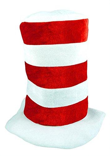 Islander Fashions Adult Rot Wei� Streifen Tall Cat Hut Mens Kost�m Buch Woche Kost�m Zubeh�r Einheitsgr��e (Katze Im Hut Damen Kostüm)