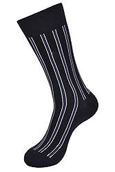 Balenzia Mens Vertical Stripes Dark Grey Socks