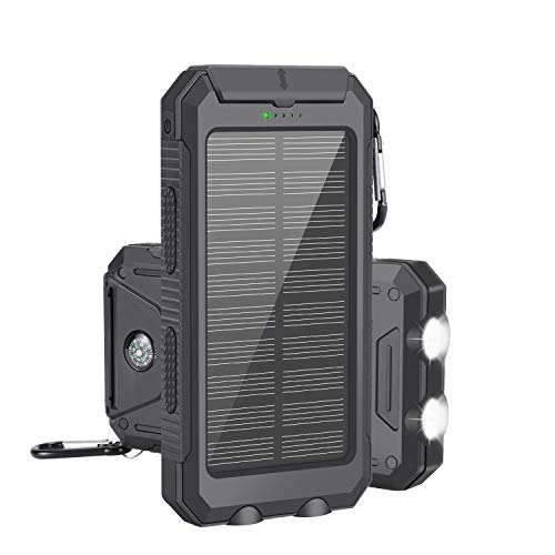 Caricabatterie solare, Solar Power Bank 10000mAh Caricabatterie solare portatile Caricabatterie portatile esterno Pack Caricatore USB doppio Caricabatterie con 2 torce Moschettone e bussola per emergenza, campeggio, per iOS, Android