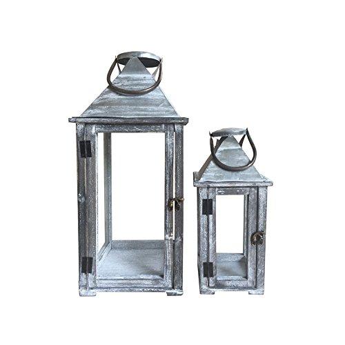 Rebecca Mobili Set de 2 Lanternes Style Vintage, Porte-Bougies Bois Verre et Metal, Gris, pour Extérieur Intérieur – Dimensions: 54 x 23 x 23 cm (HxLxL) - Art. RE6229