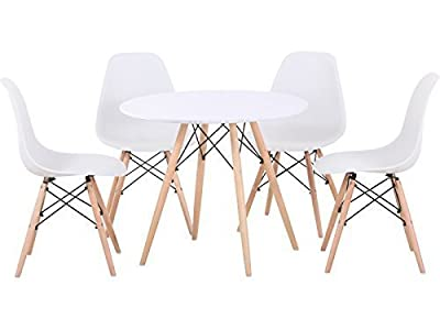 Seconique Tegan Dining Set with Natural Wood - Table & 4 Chairs - Black or White - Eames Style Art Deco