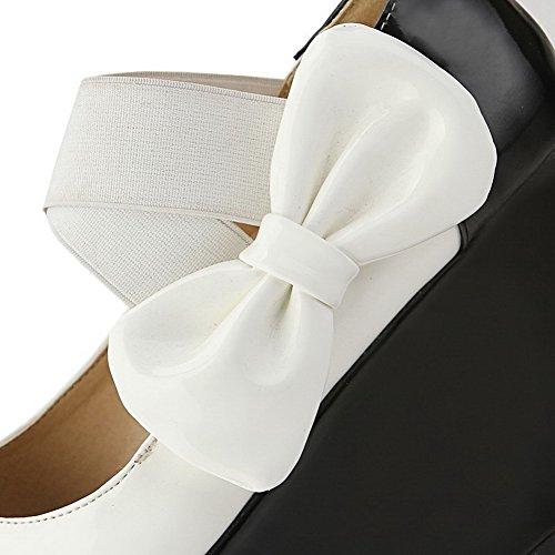 VogueZone009 Femme Rond Tire Pu Cuir Couleur Unie à Talon Haut Chaussures Légeres Blanc