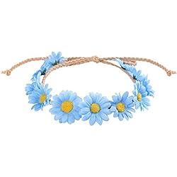 Qiman - Guirnalda de girasoles, corona de flores, margaritas tejidas, cinta para la frente, para mujeres, femeninas, sombrero para chica, joya para el pelo azul