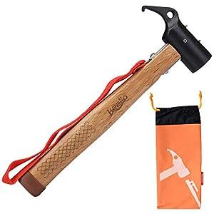 Keello Camping Hammer Zelthammer Kohlenstoffstahl Outdoor Multifunktion Hämmer Mallet Heringzieher für Zeltheringe…