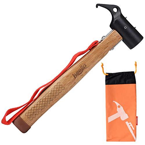 Keello Camping Hammer Zelthammer Kohlenstoffstahl Outdoor Multifunktion Hämmer Mallet Heringzieher für Zeltheringe Rutschfest Kopf Design mit Halteband