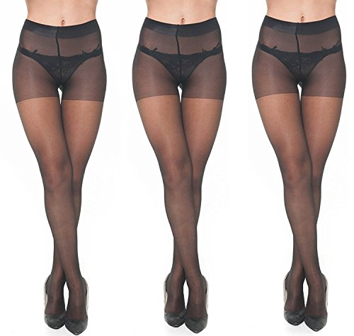 Lady Heart Anfanna Sheer Panty Hose / Stockings Black ( Pack of 3 )