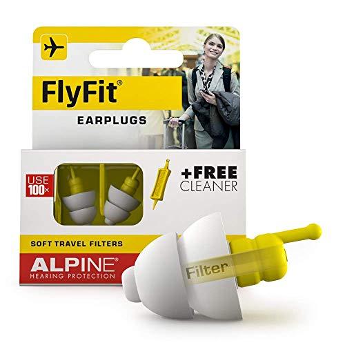 Alpine FlyFit Gehörschutz Ohrstöpsel - Regulieren den Luftdruck zur Vorbeugung von Trommelfellschmerzen - Weiche Filter für Reisen - Bequemes hypoallergenes Material - Wiederverwendbar