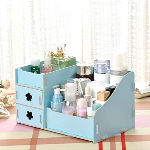 YESMAEay Holz Kosmetische Aufbewahrungsbox Kosmetische Fall Organizer DIY Kleine Objets Aufbewahrungsbox für Zuhause Schlafzimmer Badezimmer Wohnzimmer Blau