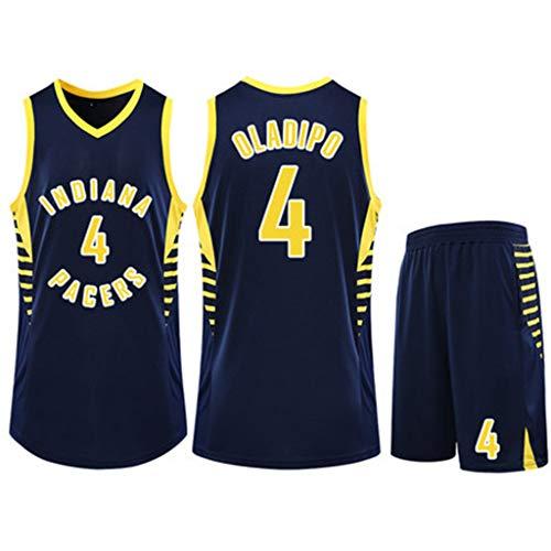 Herren Basketball Jersey Indiana Pacers Victor Oladipo # 4 Fans Basketball Uniform ärmellose Sportbekleidung Zweiteiler Blau Größe 3XS ~ 5XL,XL(165~170cm)