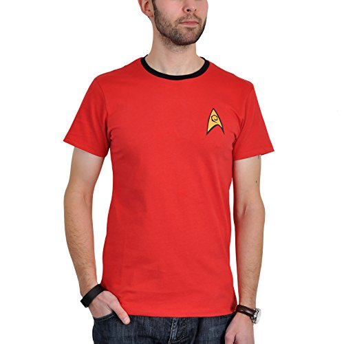 Star Trek Scotty Uniform T-Shirt Raumschiff Trekkie Kostüm Convention Baumwolle rot Kult mit Emblem - (Trek Kostüm Enterprise Uniform Star)
