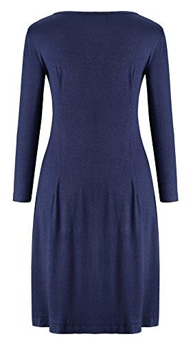 KorMei Damen Mini Skaterkleid Rundhals 3/4-Arm Fattern Stretch Basic A-Linie Kleider Blau