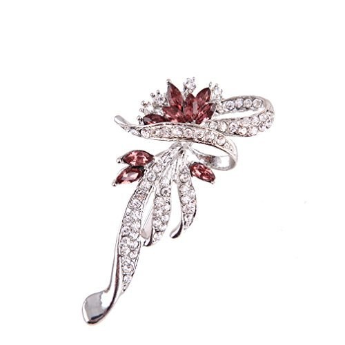 ysfl unico fiore argento/oro cristallo spilla pin per le donne regalo di natale, base metal, colore: Silver, cod.