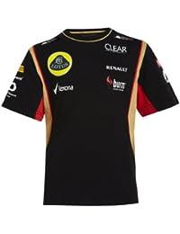 Lotus F1 Team Patrocinadores Kids – Camiseta – Camiseta infantil, color negro/oro/rojo, modelo 2013, en 5 tamaños, negro y dorado, large