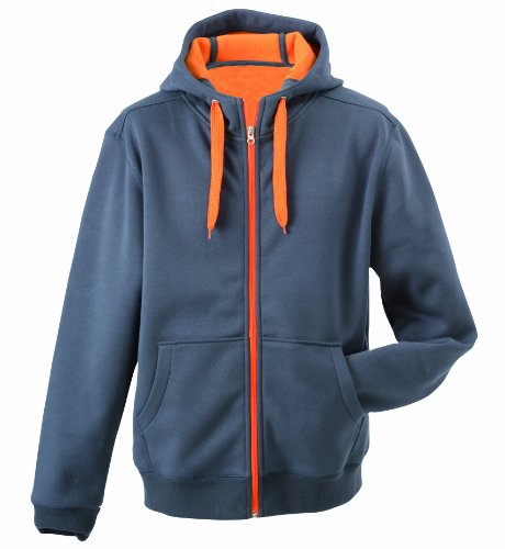 Double Face Zip (James & Nicholson Herren Jacke Doubleface Jacket, Gr. XX-Large, Grau (carbon/orange))