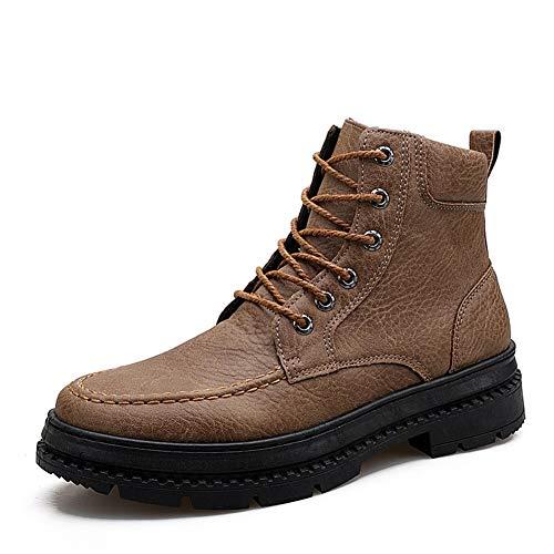 Zink Mixs Scarpe Casual per Me Combat Boots Caviglia for Scarpe Uomo Inverno High Top Moto Lace up PU Vegan Antiscivolo in Pile Foderato Punta Rotonda mantengono i Patt