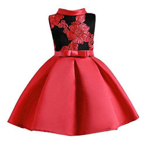 2018 Prinzessinenkleid Mädchen, Sannysis Kinder Mädchen Prinzessin Kleid Kinder Party Blumen Stickerei Hochzeit Abendkleider (150, Rot)