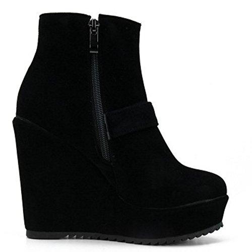 COOLCEPT Damen Mode-Event Schnalle Hohen Absätzen Knöchelriemchen Reißverschluss Keilabsatz Elegant Chelsea Stiefel Schwarz