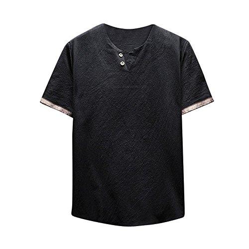 UFACE Baumwolle Leinen Herren T-Shirt Hemd, Casual V-Ausschnitt Langarmshirt Tops Yoga Strand Bluse Einfarbig Lose Hemden Lässig Hemden Für Männer