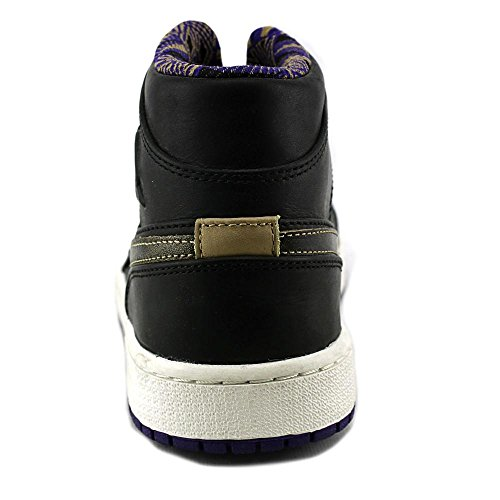 Jordan Air Jordan Mid 1 Nouveau Cuir Baskets Black-Metallic Gold-Crt Purple