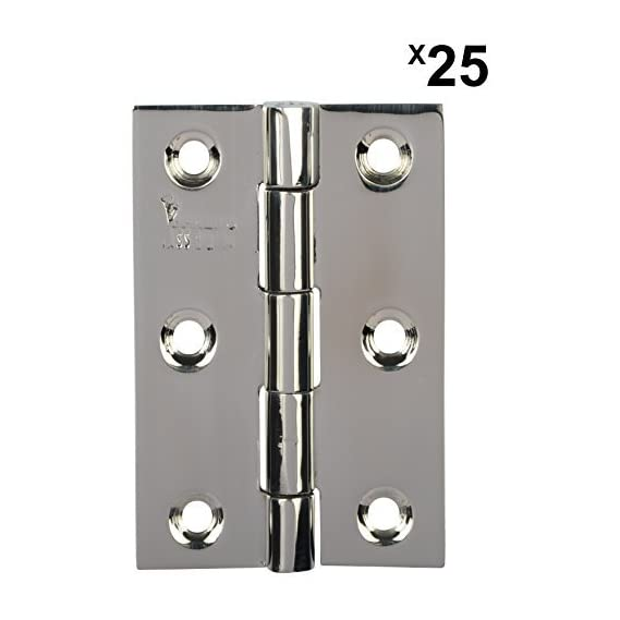 Door Hinges Stainless Steel Premium (Platinum Soft & Easy Movement Concealed Heads Single pin Lifetime Durability SSiSKCON (Platinum Glossy Finish, 3 x 16 Gauge 1.7mm Thickness, 25 pcs)
