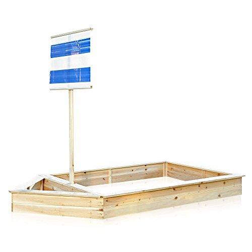 Melko® Sandkasten Piratenschiff Boot mit Segel aus Holz,180 x 96 x125 cm, blau, Sandbox Sandkiste