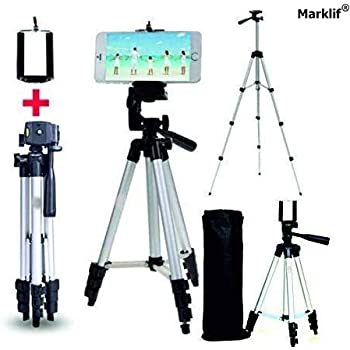 Marklif Adjustable Aluminium Alloy Tripod Stand Holder for Mobile Phones & Camera, 360 mm -1050 mm, 1/4 inch Screw + Mobile Holder Bracket