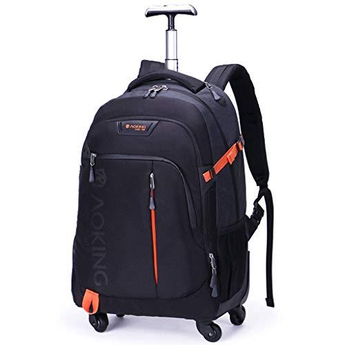 Abao 20/22 Zoll Geschäftsreise-Laufkatzen-Rucksack, fahrbarer rollender Koffer-Gepäckraum genehmigte Laptop-Tablet-Tasche,Schwarz,S -
