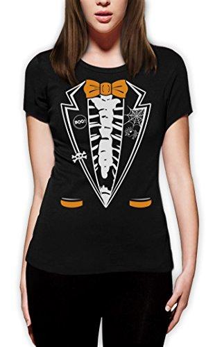 Halloween Skelett Smoking Frauen Schwarz XX-Large (Nette Familie Kostüme Halloween Für Ideen)