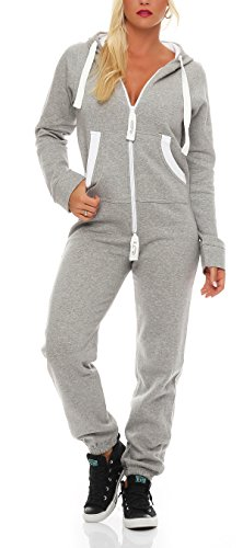 Damen Jumpsuit Jogger Jogging Anzug Trainingsanzug Einteiler Overall 9t5 hellgrau XL