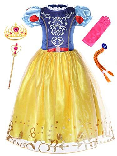 LCXYYY Mädchen Prinzessin Schneewittchen Retro Puffärmel Karneval Verkleidung Party Kleid Cosplay Faschingskostüm Weinachten Halloween Eiskönigin Kostüme Set aus Diadem,Handschuhen,Zauberstab und Zopf