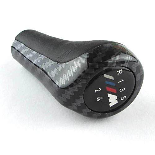 SODIAL 5 velocità in Fibra di Carbonio Auto della manopola del Cambio con Logo M per BMW 1 3 5 6 Serie E30 E32 E34 E36 E38 E39 E46 E53 E60 E63 E83 E84