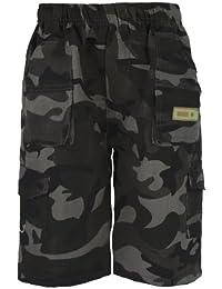Llanura De Niños & Camuflaje Muchos Bolsillos Pantalones Cortos Ejército Niños Estampado Cargo Militar
