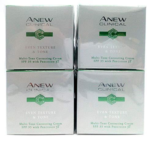 4 x Avon Anew Clinical Even Texture & Tone Multi-Tone Correcting Creme 30ml - 1.0oz mit Precision 3T Satz ! -