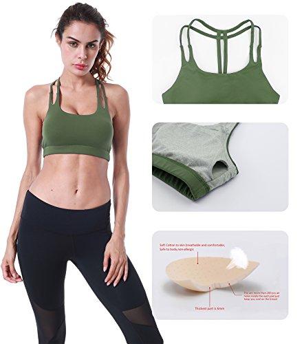 Queenie Ke Damen Yoga Sport BH Gepolstert T-Rücken armee-grün