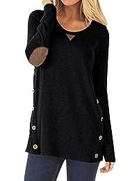 Donna Abbigliamento Con Finta Maglia Amazon Nero it Camicia Svf6wnTq